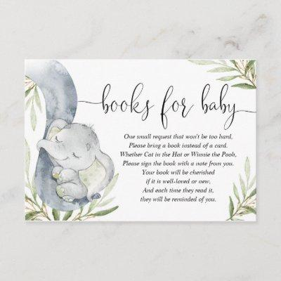 Books for baby gender neutral elephant baby shower enclosure card