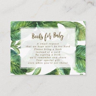 books for baby request cards tropical leaves