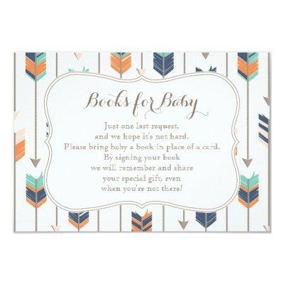 Books Request Tribal Arrows Navy Orange Teal Invitations