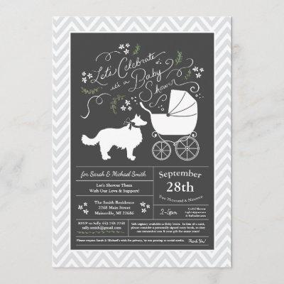 Border Collie Dog Baby Shower Invitation