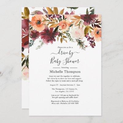 Bordo Peach Drive By Bridal or Baby Shower Invitation