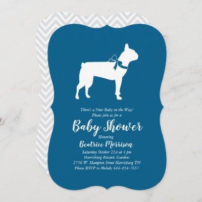 Boston Terrier Dog Baby Shower Blue Boy Invitation