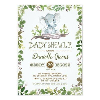 Botanical Foliage Greenery Baby Shower Invite