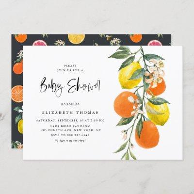 Botanical Lemons and Oranges Garland Baby Shower Invitation