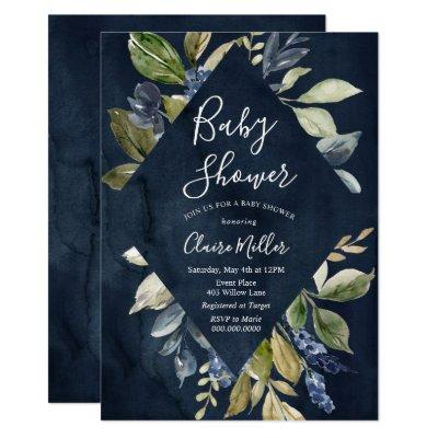 Botanical Navy Baby Shower Invitations