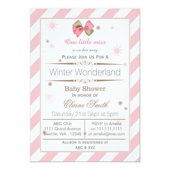 Bow Pink And Brown Mod Baby Shower Invitations Baby Shower Invitations