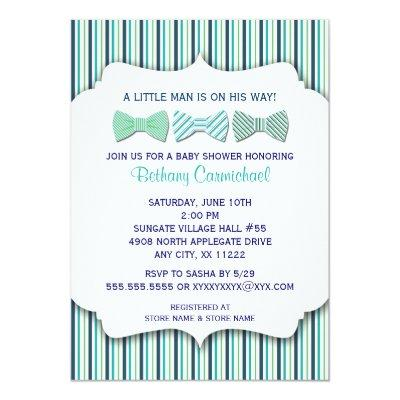 Bow Tie Baby Shower Invitations / navy turquoise