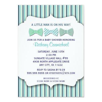 Bow Tie Invitations / navy turquoise