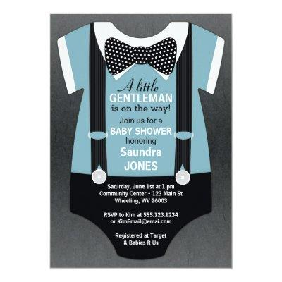 Bow Tie Baby Shower Invitations, Suspender Invite