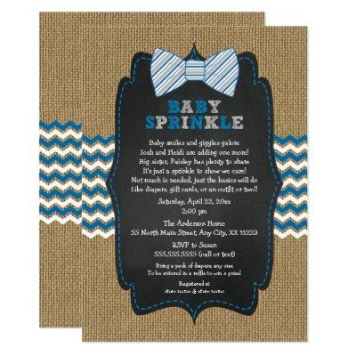 Bow Tie Baby Sprinkle invitations, boy