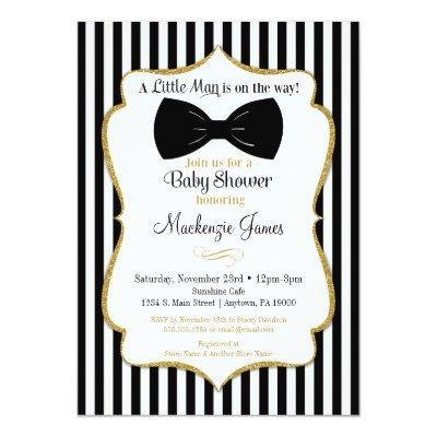 Bow Tie Boy Baby Shower Invitations Black Gold