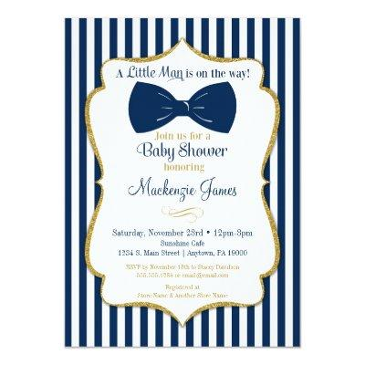 Bow Tie Boy Baby Shower Invitations Navy Blue Gold