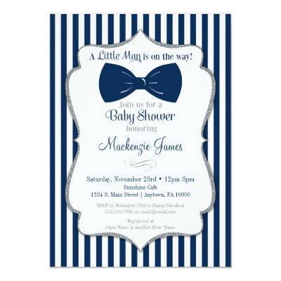 Bow Tie Boy Baby Shower Invitations Navy Silver