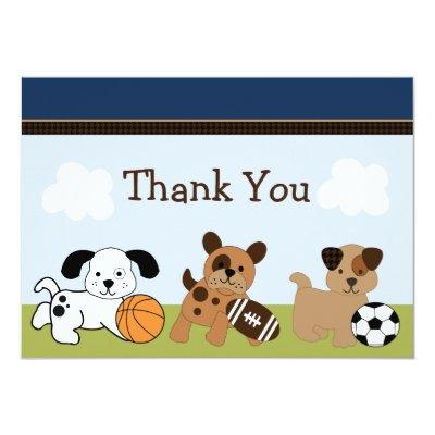 Bow Wow Puppy Dog & Sports Thank You Invitations