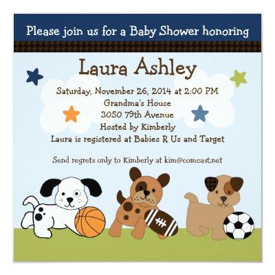 Bow Wow Puppy Dogs & Sports Baby Shower Invitations
