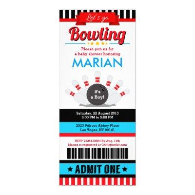 Bowling Ticket Pass Baby Shower Invitation