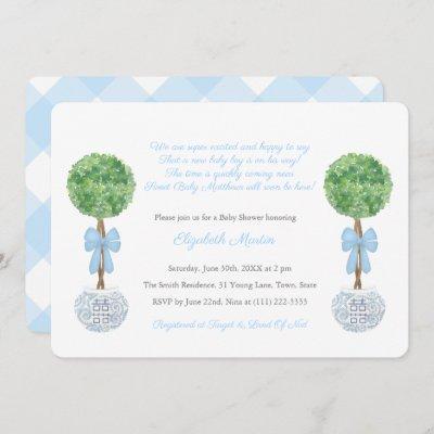 Box Ball Topiary Baby Boy Poem Shower Party Invitation
