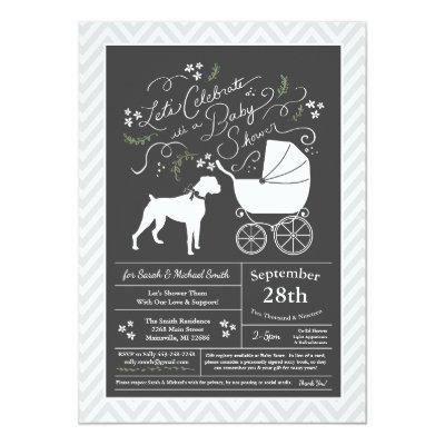 Boxer Dog Baby Shower Gender Neutral Invitation