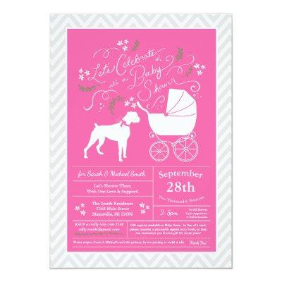 Boxer Dog Baby Shower Pink Girl Invitation