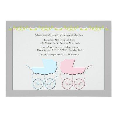 Boy and Girl Twins Gray Baby Shower Invitation