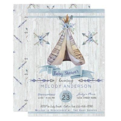 Boy Baby Blue Shower Boho Chic Teepee & Arrows Invitations