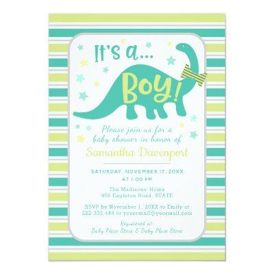 Boy Baby Dinosaur Mint Green Shower Invitation