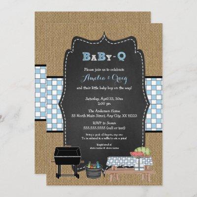 Boy Baby-Q Baby Shower, BBQ baby shower Invitation