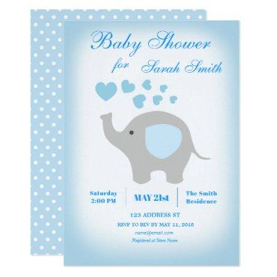 Boy Baby Shower Blue Elephant Invitations
