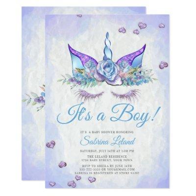 Boy Baby Shower Blue Fantasy Sleeping Unicorn Invitations