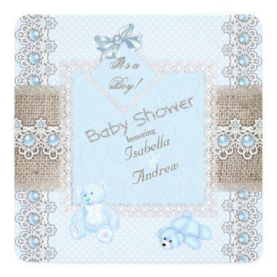 Boy Baby Shower Blue Pearl Lace Vintage Bears Spot Invitations