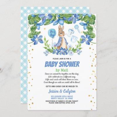 Boy baby shower by mail Bunny Rabbit blue Invitation