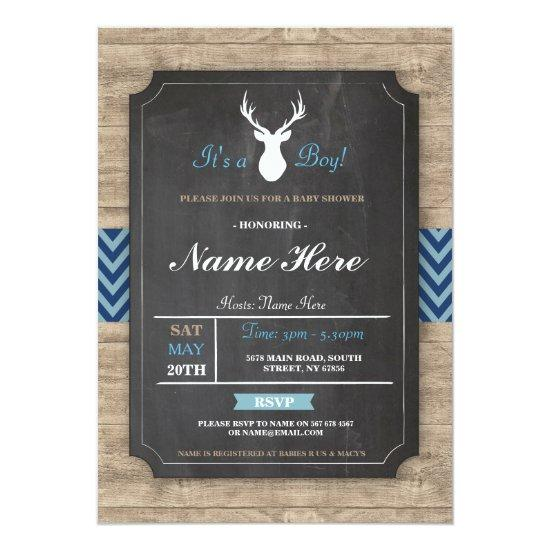 boy chalk rustic antler stag invite
