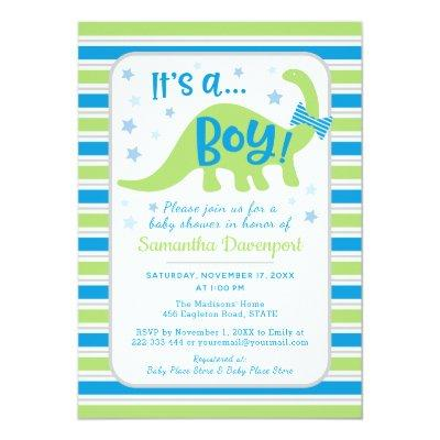 Boy Baby Shower Green Dinosaur Colorful Invitations