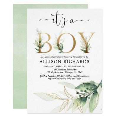 Boy baby shower greenery gold leaves modern Invitations