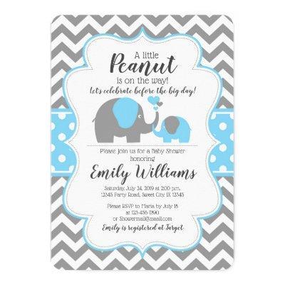 Boy baby shower invitation blue elephant theme