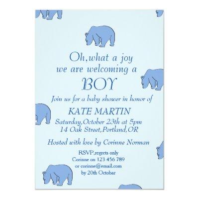 boy baby shower invitation card with blue bears