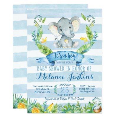 Boy Invitation, Elephant Invitations