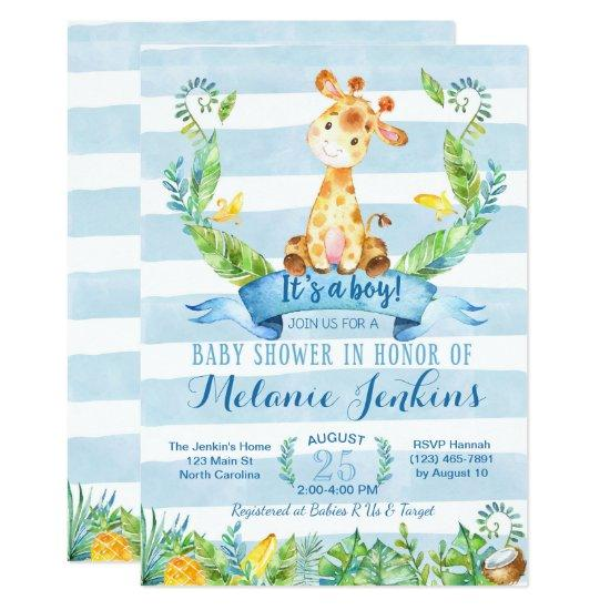 Boy Baby Shower Invitations, Giraffe Baby Shower Card