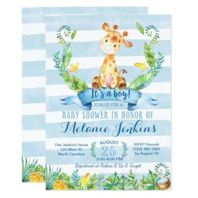 Boy Baby Shower Invitations, Giraffe Baby Shower Invitations