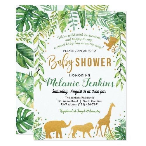 Boy Baby Shower Invitations, Jungle Baby Shower Invitations