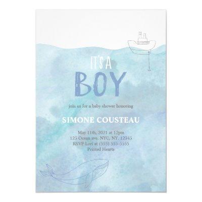 Boy Baby shower Invitation | Nautical | Whale