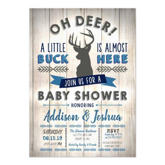 Boy Baby Shower Little Buck Invitation
