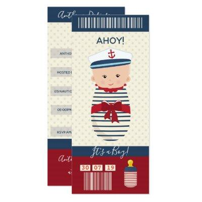 Boy Baby Shower Nautical Boarding Pass Ticket Invitations