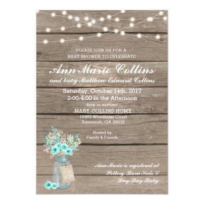 Boy Baby Shower Rustic Babys Breath String Lights Invitation