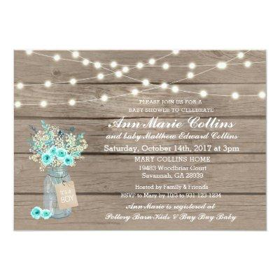 Boy Baby Shower Rustic String Lights Babys Breath Invitation
