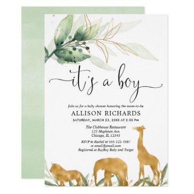 Boy baby shower, safari jungle gold animals invitation