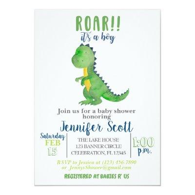 Boy Baby Shower Watercolor Dinosaur Invitations