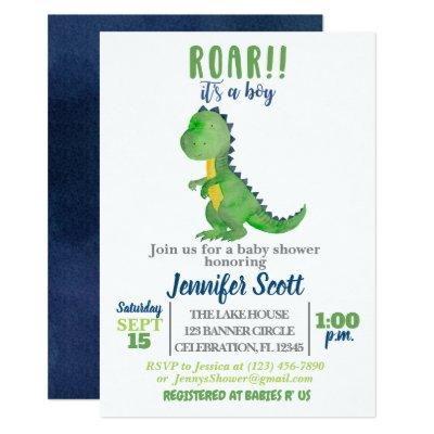 Boy Baby Shower Watercolor Dinosaur Invitation