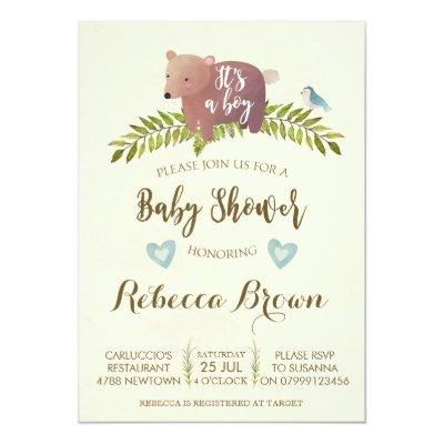 boy baby shower woodland forest bear cute Invitations