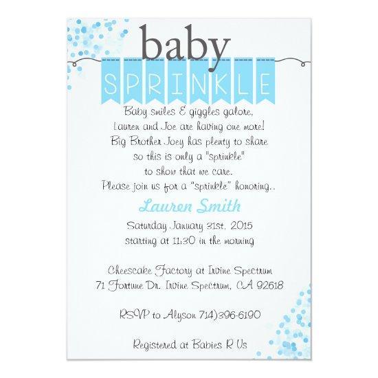 Boy Baby Sprinkle Invitations - Blue Baby Sprinkle